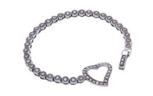 Marcasite Heart Clasp Bracelet