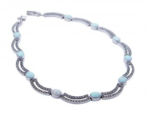 Marcasite and opalite oval necklace