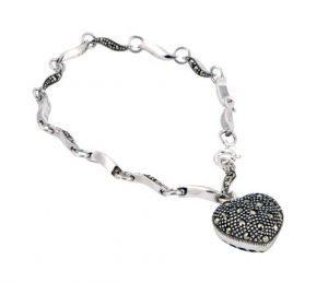 Marcasite wave link heart bracelet