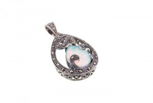 marcasite and opalite peardrop pendant