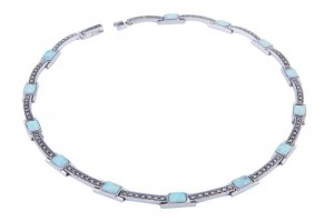 rectangle marcasite and opalite necklace