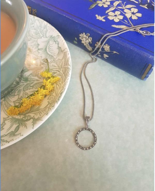 marcasite circle pendant