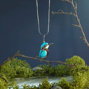 Kingfisher pendant in trees
