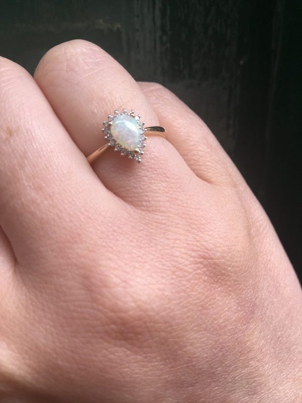 Pear shaped opal and Diamond ring
