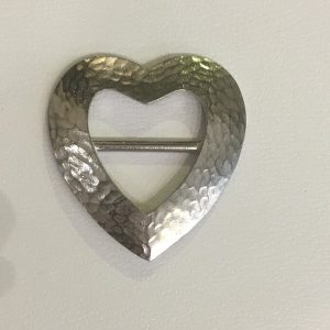 hammered heart pewter scarf ring