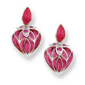 ruby enamel heart earrings