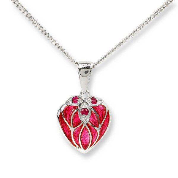 ruby enamel heart pendant