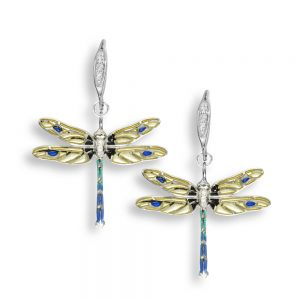 white sapphire enamel dragonfly earrings