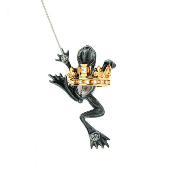 frog prince brooch black reverse