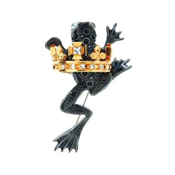 frog prince brooch black