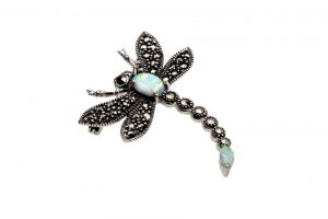 marcasite and opalite dragonfly brooch