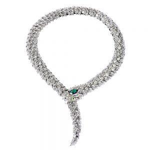 crystal snake necklace green