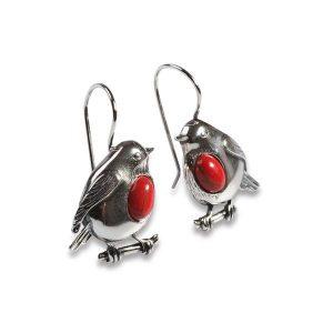 coral robin drop earrings