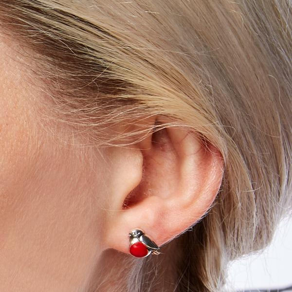 coral robin studs on model
