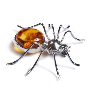 amber spider brooch