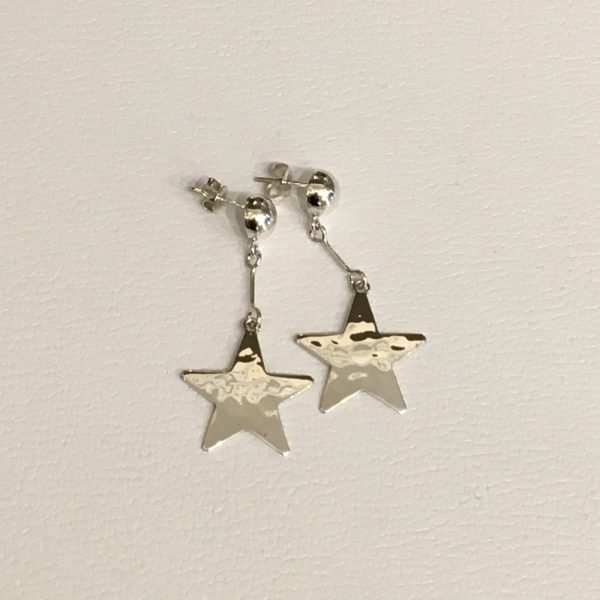 hammered star drop earrings