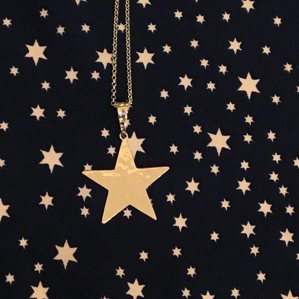hammered star on star background