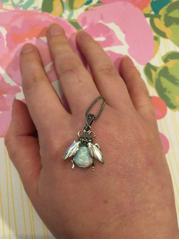 Marcasite and Opalite Bumbleebee Pendant on hand
