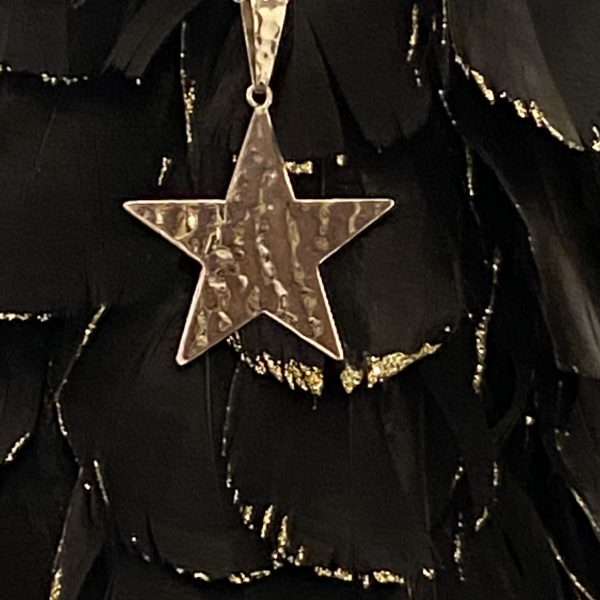 Hammered Star Pendant on Black and Gold
