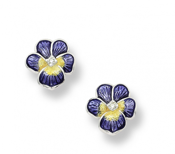 purple pansy earrings close