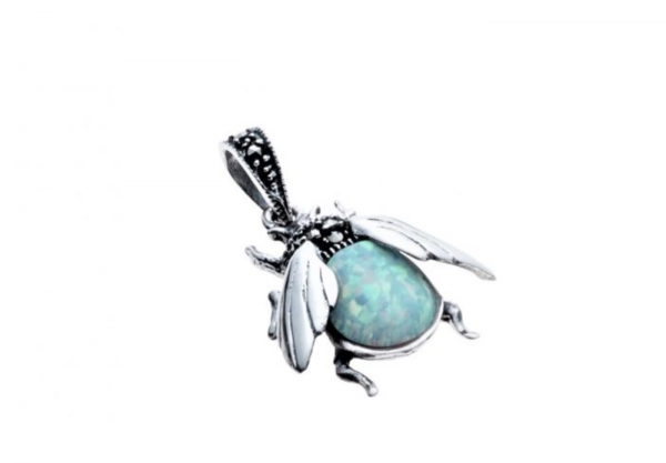 Marcasite and Opalite Bumblebee Pendant Close