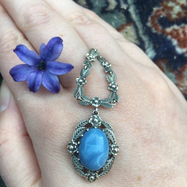 Blue Opal Necklace with a purple flower