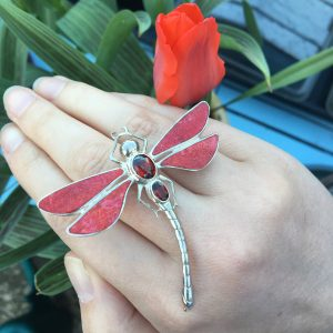 REd Dragonfly Brooch with Red Tulip