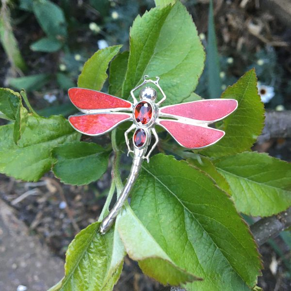 Red Dragonfly Brooch on leaves