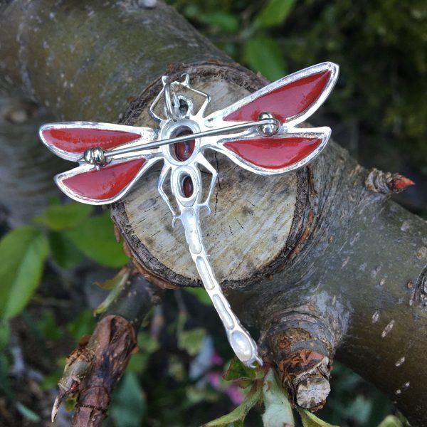 Red Dragonfly Brooch Reverse