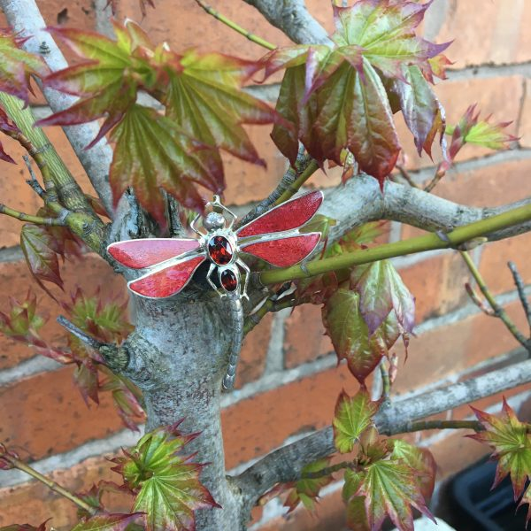 Red Dragonfly Brooch on bonsai