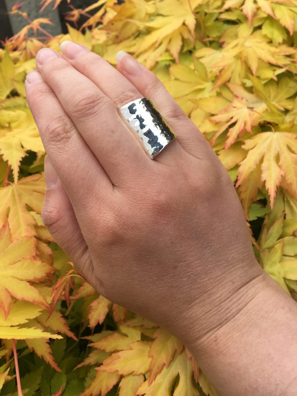 Hammered Silver Cuff Ring