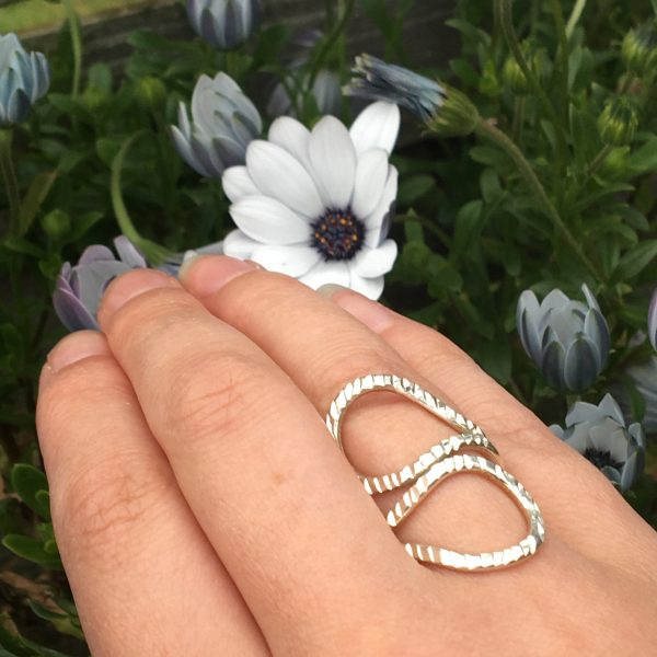 Texture Loop Ring with Flower Background