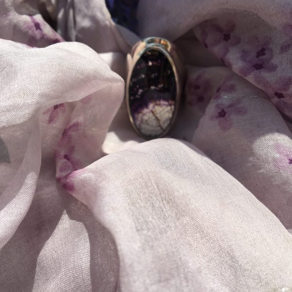 Blue John Ring on purple