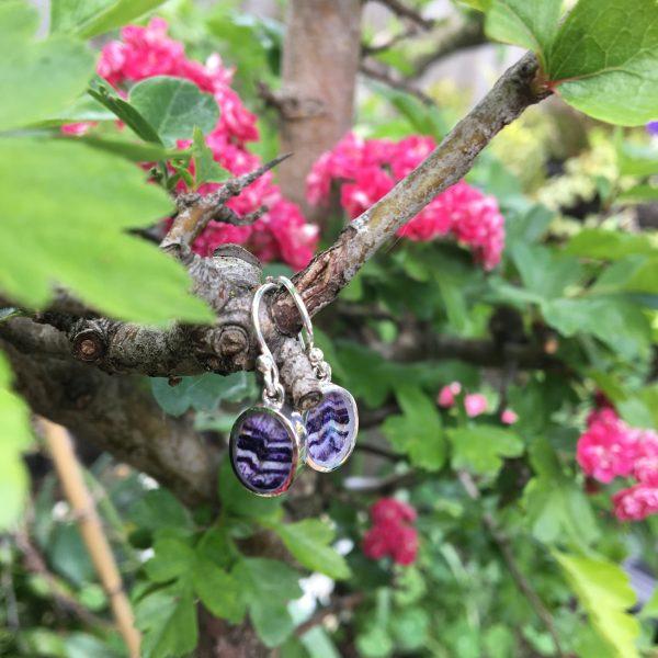Blue John Oval Earrings Close
