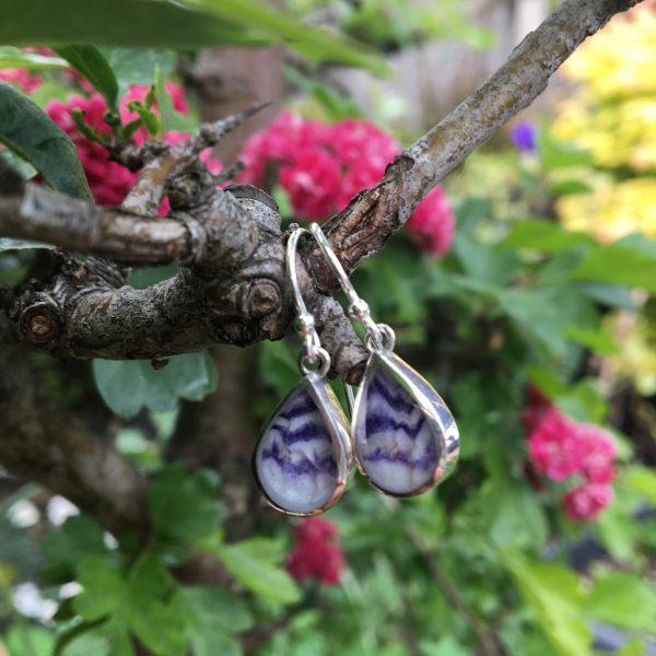 Blue John PEardrop earrings close