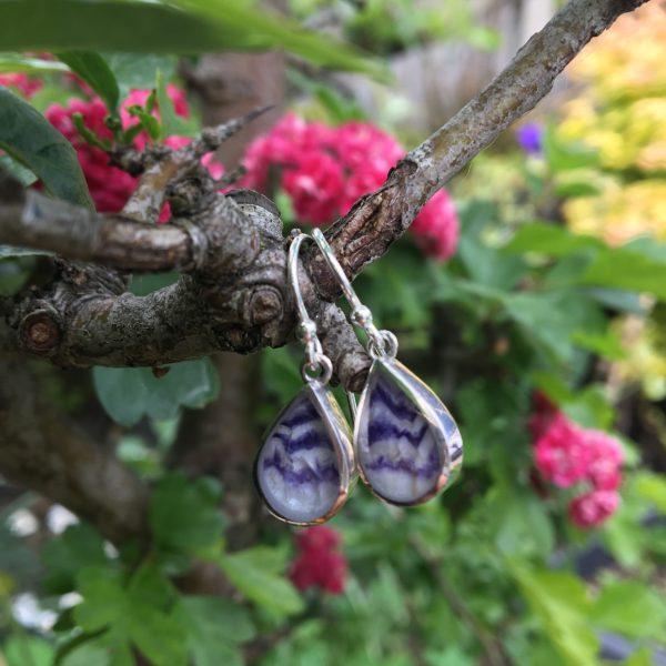 BLue John Peardrop Earrings Closer