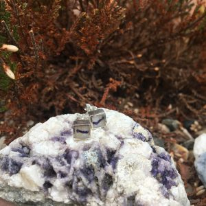 Blue John Square Mini Stud Earrings