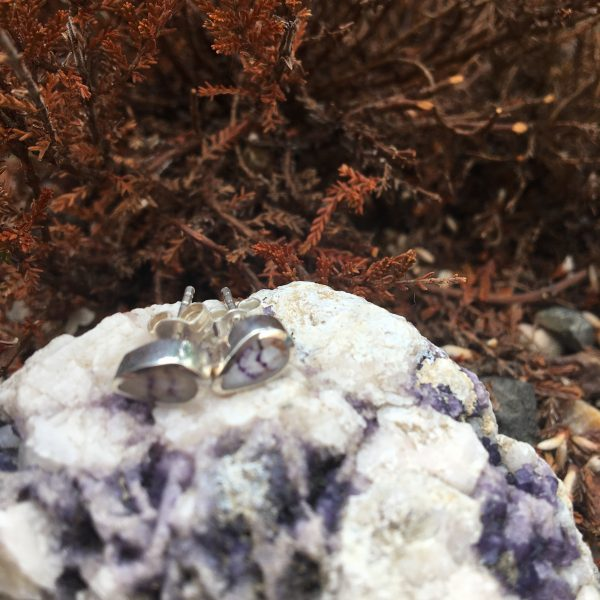 Blue John Peardrop Mini Stud Earrings Outside