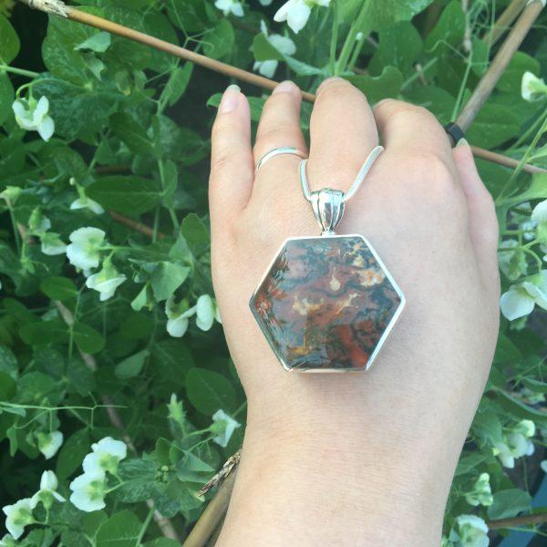 Agate Side Hexagonal Fob