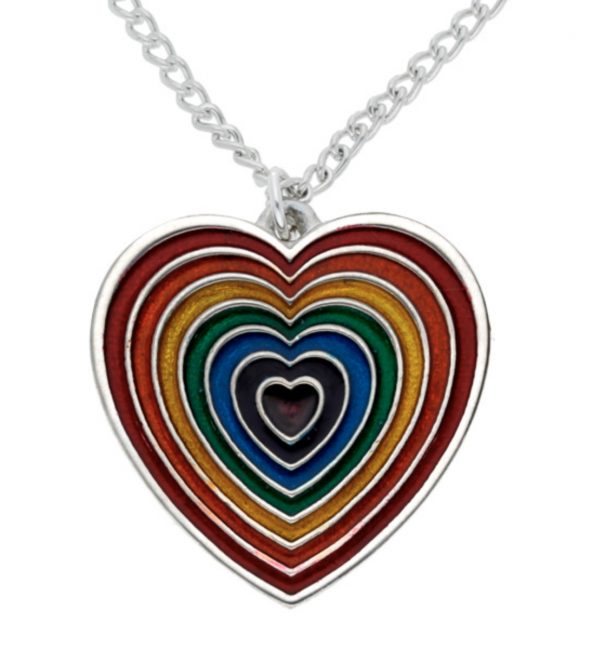 Rainbow Heart Pendant with Red Outer