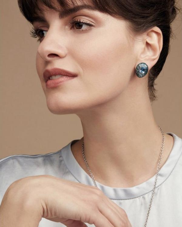 Mock Turtle Small Earrings in Blue on Model