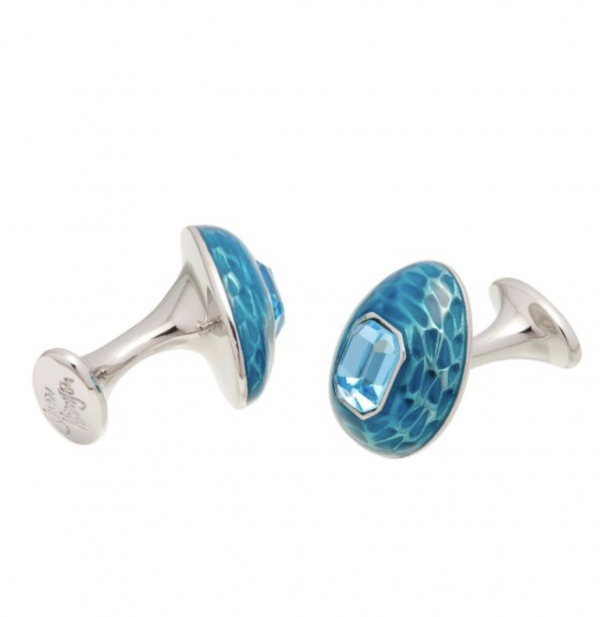 Mock Turtle Cufflinks Blue Long View