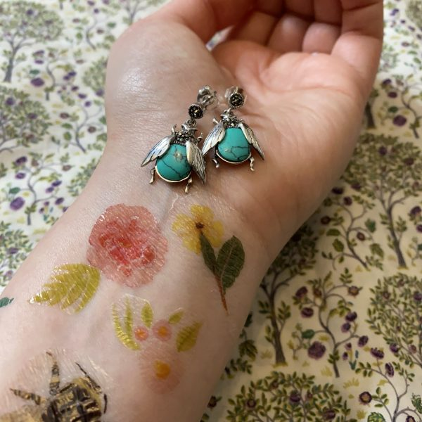 turquoise and marcasite bee earrings
