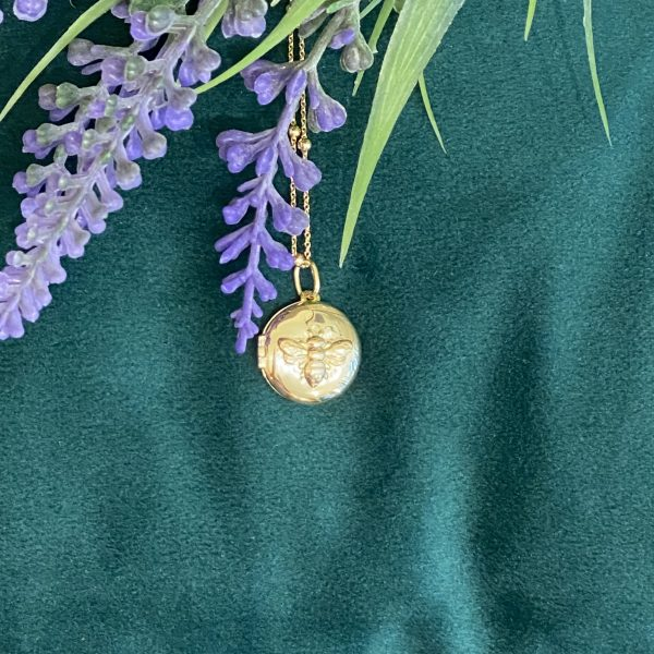 Golden Bee Locket on Green