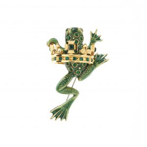 Frog Prince Green Brooch