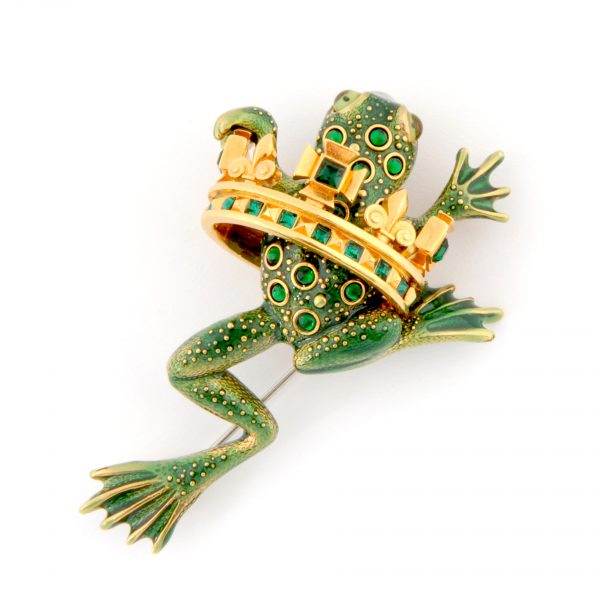 Frog Prince Green Brooch Close