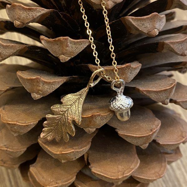 Acorn and Oak Leaf Bronze Pendant on fir cone