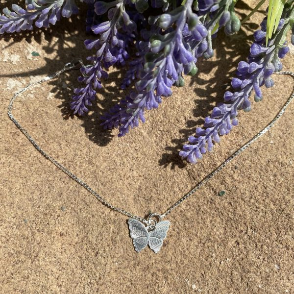 silver butterfly anklet far