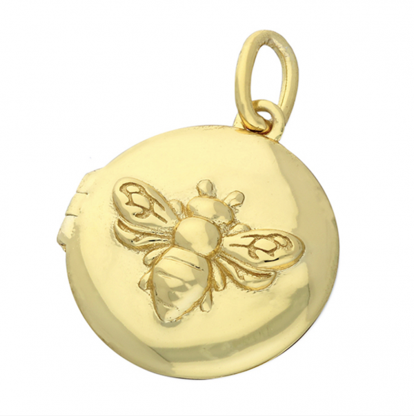 Golden Bee Locket Plain Background