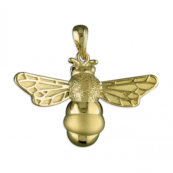 Golden Bee Pendant Plain Background